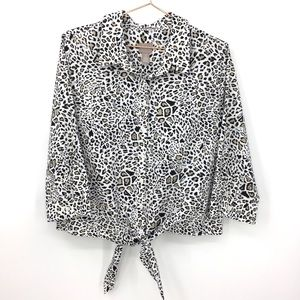 Chicos Tie Front Shirt Animal Print